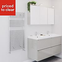 Blyss Bosham 398W Electric Chrome Towel warmer (H)1100mm (W)500mm