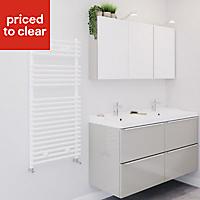 Blyss Bosham White Towel warmer (H)1100mm (W)500mm