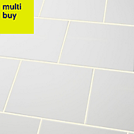 Spezzia White Gloss Ceramic Wall tile, Pack of 20, (L)200mm (W)250mm