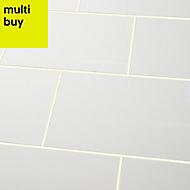 Alexandrina White Gloss Ceramic Wall tile, Pack of 15, (L)400mm (W)250mm