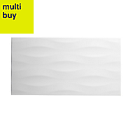 Perouso White Gloss Ceramic Wall tile, Pack of 6, (L)600mm (W)316mm
