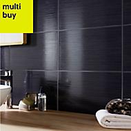 Salerna Black Gloss Ceramic Wall tile, Pack of 17, (L)250mm (W)400mm