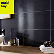 Salerna Black Gloss Ceramic Wall tile, Pack of 17, (L)250mm (W)400mm