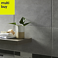 Cimenti Grey Matt Ceramic Wall tile, Pack of 10, (L)400mm (W)250mm