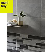 Cimenti Grey Matt Ceramic Wall tile, Pack of 10, (L)400mm (W)250mm
