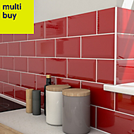 Trentie Red Gloss Ceramic Wall tile, Pack of 40, (L)200mm (W)100mm