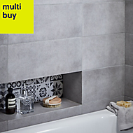 Konkrete Grey Matt Ceramic Wall tile, Pack of 14, (L)500mm (W)200mm
