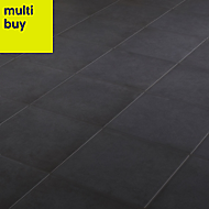 Konkrete Black Matt Porcelain Floor tile, Pack of 34, (L)200mm (W)200mm
