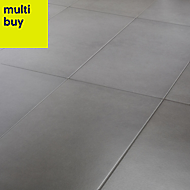 Konkrete Grey Matt Concrete effect Porcelain Floor tile, Pack of 8, (L)307mm (W)617mm