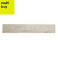 Cotage wood White Matt Wood effect Porcelain Floor tile, Pack of 4, (L)1200mm (W)200mm
