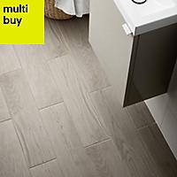 Arrezo Grey Matt Wood effect Porcelain Floor tile, Pack of 14, (L)600mm (W)150mm
