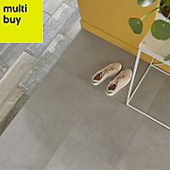 Konkrete Grey Matt Concrete effect Porcelain Floor tile, (L)426mm (W)426mm, Sample