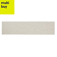 Arrezo White Matt Wood effect Porcelain Floor tile, (L)600mm (W)150mm, Sample
