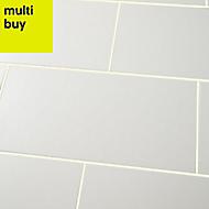Brindisie White Satin Ceramic Wall tile, (L)500mm (W)250mm, Sample