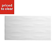 Perouso White Gloss Concrete effect Ceramic Wall tile, (L)600mm (W)300mm, Sample