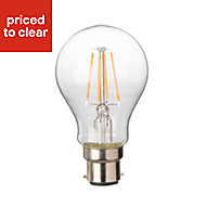 Diall B22 4W 470lm Classic LED Filament Light bulb