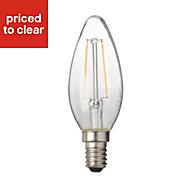 Diall E14 2W 250lm Candle Warm white LED Filament Light bulb