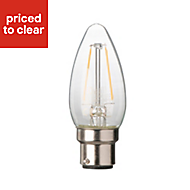 Diall B22 2W LED filament Candle Light bulb