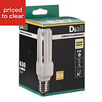 Diall E27 11W CFL Stick Light bulb, Pack of 4