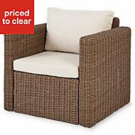 Soron Brown Metal Garden armchair