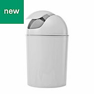 Cooke & Lewis Palmi Gloss White Plastic Bathroom bin, 5L