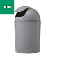 Cooke & Lewis Palmi Gloss Grey Plastic Bathroom bin, 5L