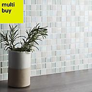Parmia White Glass & marble Mosaic tile, (L)300mm (W)300mm