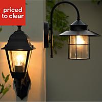 Vincent Fixed Matt Black Mains-powered Incandescent Outdoor Wall lantern