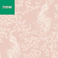 Rasch Blush pink & white Peacock Glitter effect Wallpaper
