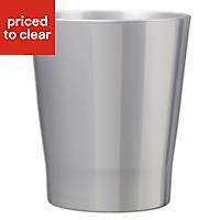 Merina Glazed Silver Gloss Plant pot (H)180mm (Dia)190mm