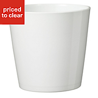 Dallas Glazed White Plant pot (H)230mm (L)140mm (Dia)240mm