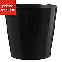 Glazed Black Plant pot (H)180mm (Dia)190mm