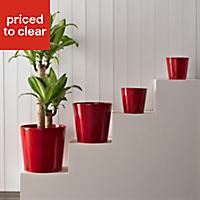 Dallas Glazed Red Gloss Plant pot (H)180mm (Dia)190mm