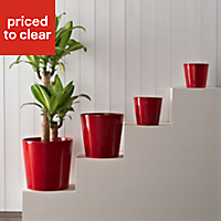 Dallas Glazed Red Gloss Plant pot (H)240mm (Dia)240mm