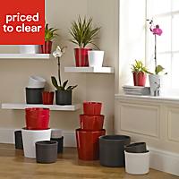 Merina Glazed White Plant pot (H)270mm (Dia)280mm