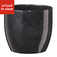 Basel Round Glazed Black Plant pot (H)180mm (Dia)190mm