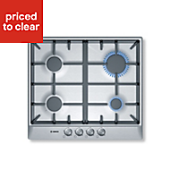 Bosch PCP615B90B 4 Burner Cast iron & stainless steel Gas Hob, (W)582mm