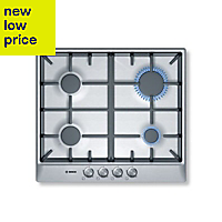 Bosch PCP615B90B 4 Burner Cast iron & stainless steel Gas Hob, (W)582mm