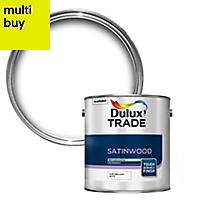 Dulux Trade Pure brilliant white Satinwood Wood & metal paint 2.5L