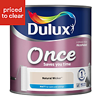 Dulux Once Natural wicker Matt Emulsion paint 2.5L
