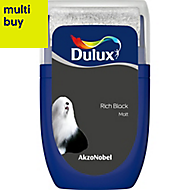 Dulux Standard Rich black Matt Emulsion paint 0.03L Tester pot