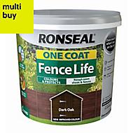 Ronseal One coat fence life Dark oak Matt Fence & shed Wood treatment, 5L