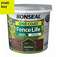 Ronseal One coat fence life Forest green Matt Fence & shed Wood treatment, 5L