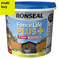 Ronseal Fence life plus Charcoal grey Matt Fence & shed Wood treatment, 5L