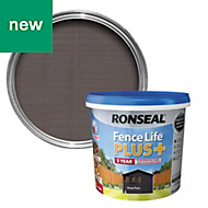 Ronseal Fence life plus Deep plum Matt Opaque Shed & fence treatment 5L