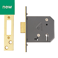 Yale 76mm Polished brass 5 Lever Mortice deadlock