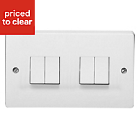 Crabtree 10A 2 way White Quadruple Light Switch