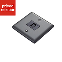 Volex 1 gang Raised Pewter effect Telephone socket