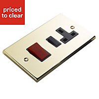 Volex 45A Brass effect Switched Cooker switch & socket