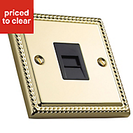 Volex 1-gang Raised Polished brass effect Telephone socket